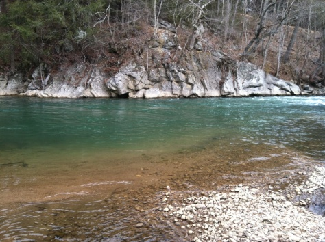 One of many emerald pools on the South Fork of the Holston River, Washington County, Virginia, March 1, 2014