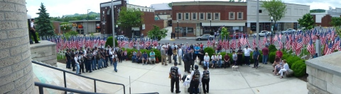 Panoramic View of the Rolling Thunder Ceremony at the Smyth County Courthouse, May 22, 2014