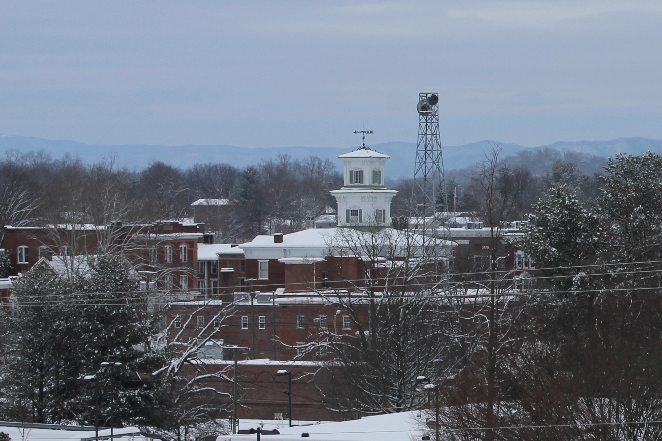 Washington Courthouse Cupola with Holston Mountain in the background, February 21, 2015