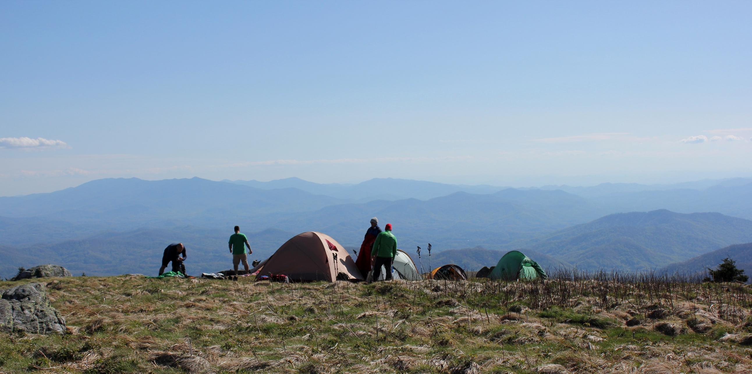 Camping on Grassy Ridge Bald, 6165'
